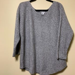 XL gray v neck long sleeve sweater